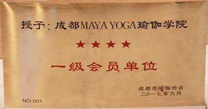 玛亚瑜伽   MAYA  YOGA荣获成都市瑜伽协会授予MAYAYOGA一级会员单位