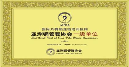 JS舞蹈荣获亚洲钢管舞协会一级单位证书