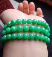鸿玉.阳绿圆珠项链手链