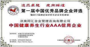 同汇妈妈荣获中国健康养生行业AAA信用企业