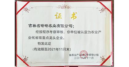 晰晰荣获农业产业化省级重点龙头企业