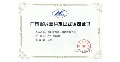 革普丝荣获广东省民营科技企业认定证书